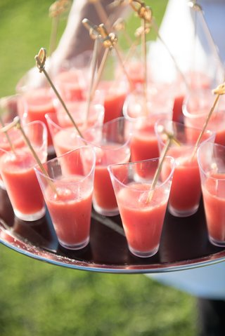 garden-summer-wedding-with-glasses-of-gazpacho-served-at-cocktail-hour