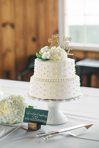 two-tier-cake-two-to-tango-topper-white-green-beads-icing-dots-simple-maine-wedding-dessert-cute