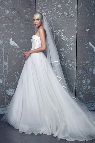legends-romona-keveza-fall-2018-strapless-wedding-dress-with-trim-and-veil-ball-gown