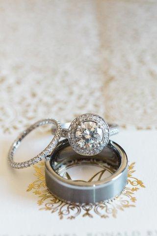 diamond-pave-eternity-band-wedding-ring-womens-and-halo-round-diamond-engagement-ring-brushed-mens