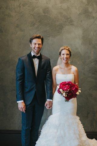 alex-kuznetsov-in-navy-tuxedo-bride-in-liancarlo-wedding-dress-ruffled-skirt-scarlet-peonies