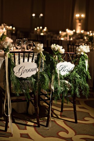 bride-and-groom-sign-with-fern-garlands-tied-with-tulips