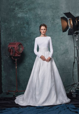 sareh-nouri-fall-2019-bridal-collection-wedding-dress-reese-crepe-long-sleeve-top-jacquard-ball-gown