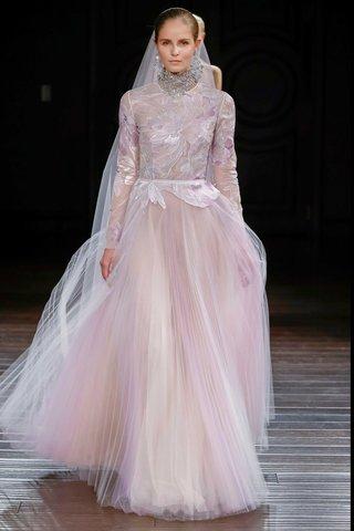 naeem-khan-bridal-spring-2017-long-sleeve-lavender-wedding-dress-flower-details-tulle-pleat-skirt