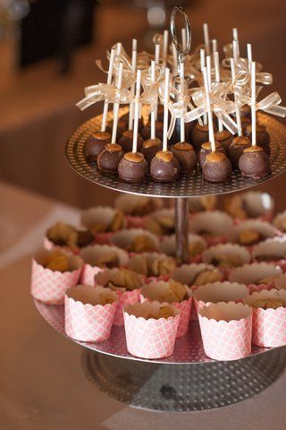 wedding-reception-cookie-table-with-cake-pops-and-pink-sweets-cups-on-metal-stand