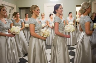 bridesmaids-in-silver-sequin-bodices-with-full-overskirts