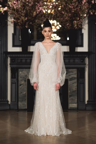 ines-di-santo-spring-2019-bridal-collection-wedding-dress-mila-v-neck-long-sleeve-poet-sheath-gown