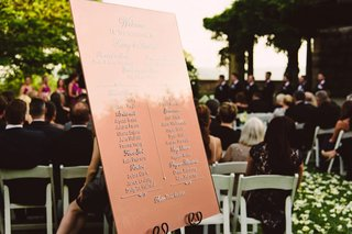 welcome-sign-list-of-attendants-and-wedding-party-at-entrance-to-outdoor-ceremony