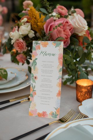 menu-card-for-wedding-reception-dinner-with-floral-border-in-pinks-and-oranges-peachy-hues