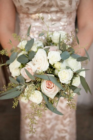 pink-rose-white-rose-ivory-rose-wedding-bridesmaid-bouquet-with-greenery-and-olive-leaves