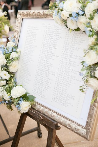 table-assignments-in-gold-frame-adorned-with-flowers