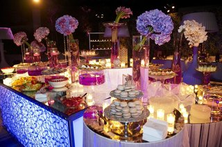 spread-of-desserts-and-macarons-at-purple-wedding
