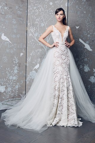 legends-romona-keveza-fall-2018-lace-deep-v-wedding-dress-with-sheer-tulle-overskirt