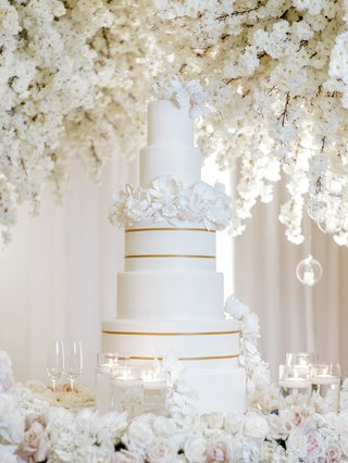five-tier-wedding-cake-with-two-tiers-of-gold-stripes-and-a-layer-of-sugar-flowers