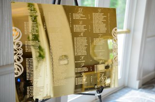 wedding-seating-chart-on-shiny-gold-mirror-with-names-etched-in-alphabetical-order-monogram-wedding