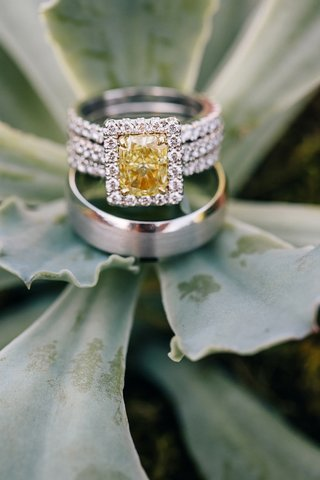 three-row-ring-with-yellow-diamond-and-halo