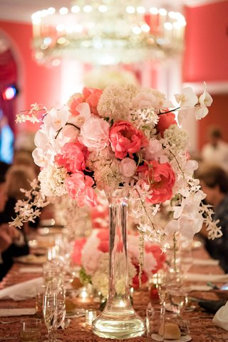 ivory-blush-arrangement-clear-vase-wedding-reception-feminine-cascading-decor-greenbrier
