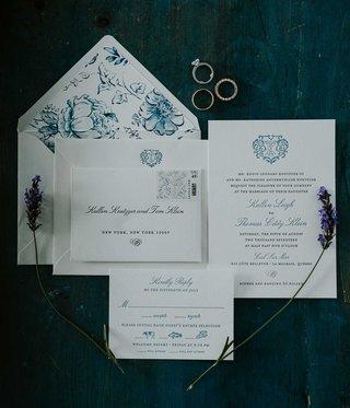 wedding-invitation-blue-monogram-and-blue-white-flower-envelope-liner