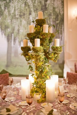 woodsy-wedding-centerpiece-with-moss-and-green-orchids