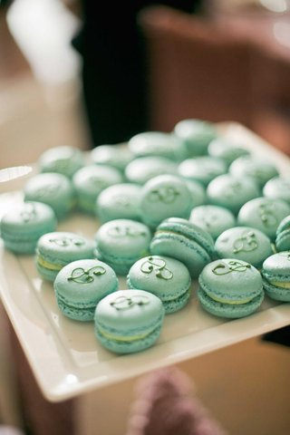 blue-green-french-macaron-cookies-with-initial-p-icing