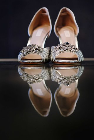 silver-wedding-shoes-on-mirror-table-with-peep-toe