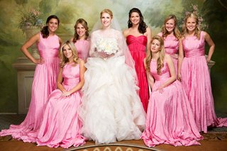 bride-with-pink-and-cerise-floor-length-bridesmaids-dresses