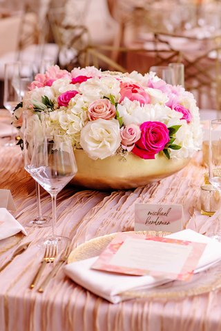 wedding-reception-gold-bowl-white-blush-hot-pink-flower-centerpiece-textured-linen-watercolor-card