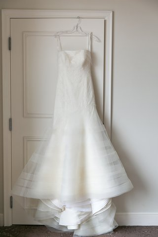 strapless-trumpet-gown-hanging-up-vera-wang-classic-striped-skirt-lace