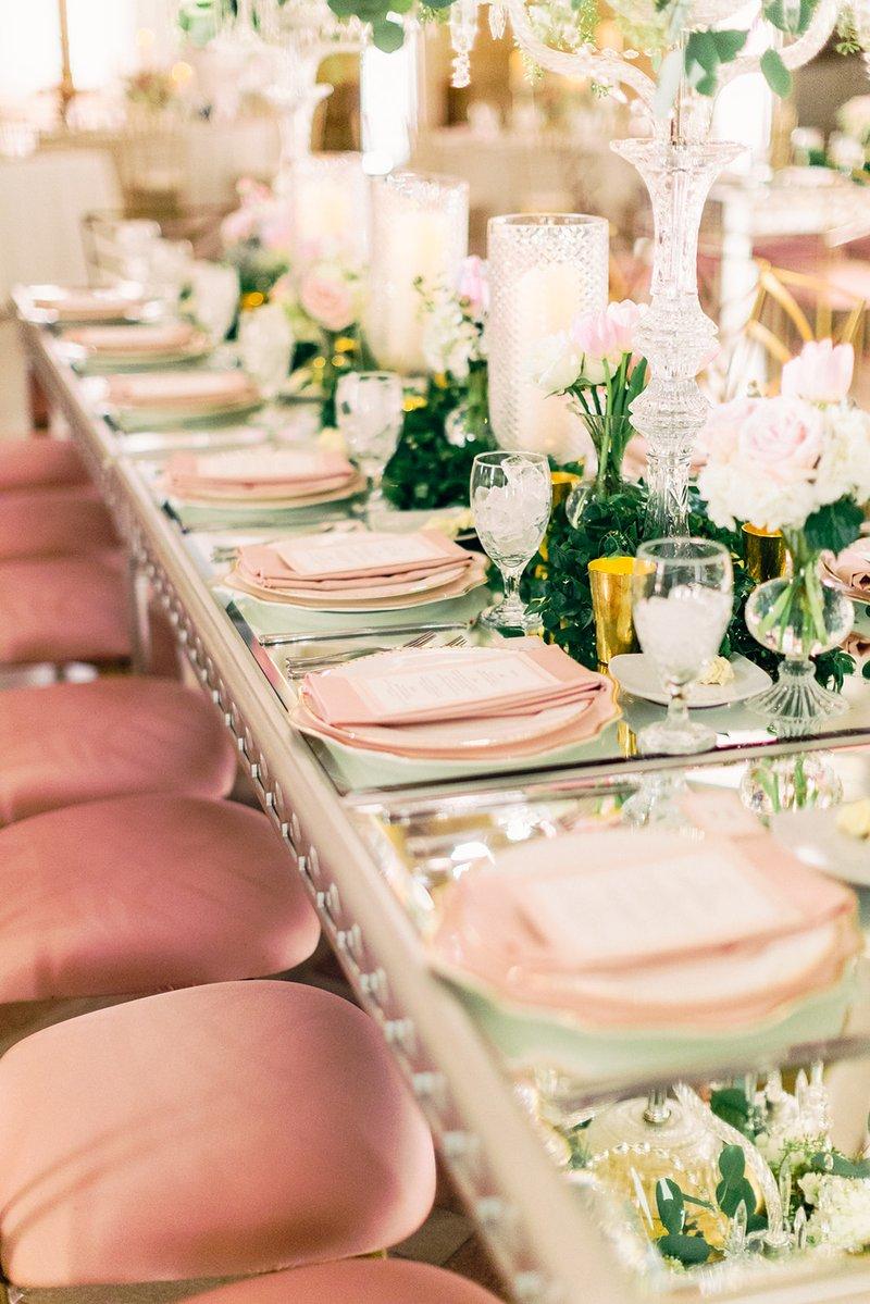 Pink Velvet Chair Cushions & Mirror Table