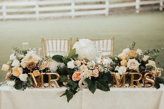 wedding-sweetheart-table-with-gold-mr-and-mrs-letters-peach-floral-garland-with-greenery-and-a-gl