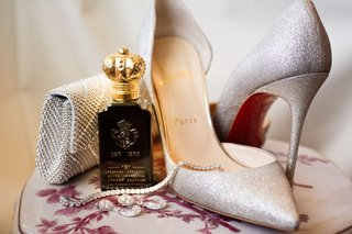 glittery-silver-christian-louboutin-heels-and-a-metallic-purse