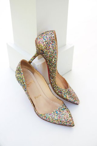 wedding-shoes-christian-louboutin-sparkle-glitter-heels-pink-green-gold-silver-glitters