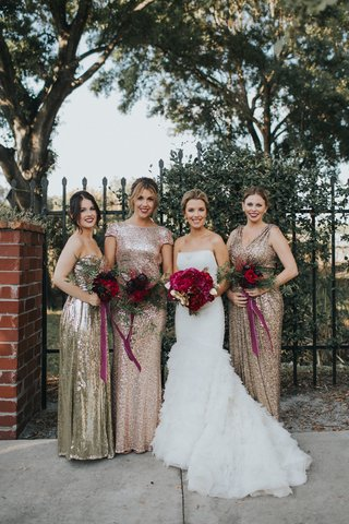 bride-in-liancarlo-ruffled-trumpet-gown-bridesmaids-in-mismatched-gold-and-rose-gold-sequins