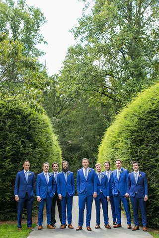 groom-and-groomsmen-in-bright-blue-suits-brown-dress-shoes-for-rustic-wedding