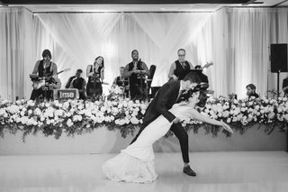 black-and-white-photo-of-live-band-performing-during-first-dance-at-wedding-ballroom-reception