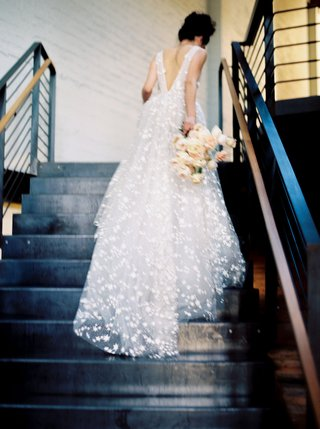 wedding-dress-v-back-going-up-stairs-galia-lahav-star-embroidery-a-line-wedding-dress-bouquet