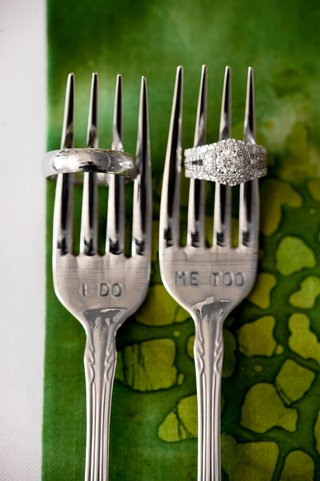 wedding-rings-on-forks-with-i-do-and-me-too-stamps