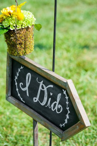 i-did-wedding-sign-on-chalkboard-with-moss-arrangement