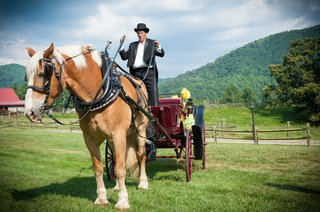 bride-arrives-to-outdoor-ceremony-on-horse-carriage
