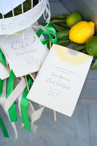 yellow-sunflower-wedding-program-with-green-ribbons