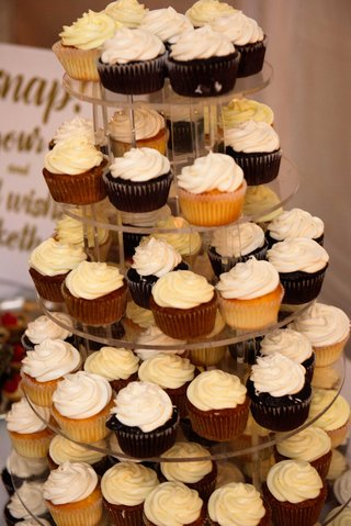 lucite-acrylic-tower-of-vanilla-and-chocolate-cupcakes-on-stand-wedding-reception-dessert-table
