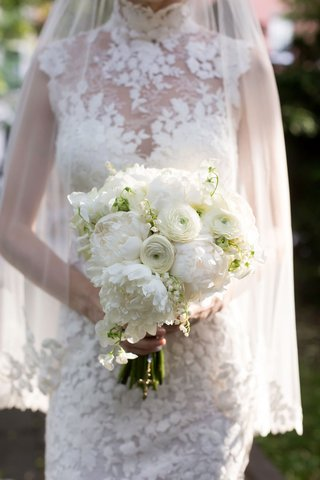 bridal-bouquet-white-peony-ranunculus-flowers-lily-of-the-valley-lace-wedding-dress