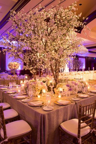 balloom-wedding-reception-table-with-cherry-blossom-tree-surrounded-by-white-purple-roses-green
