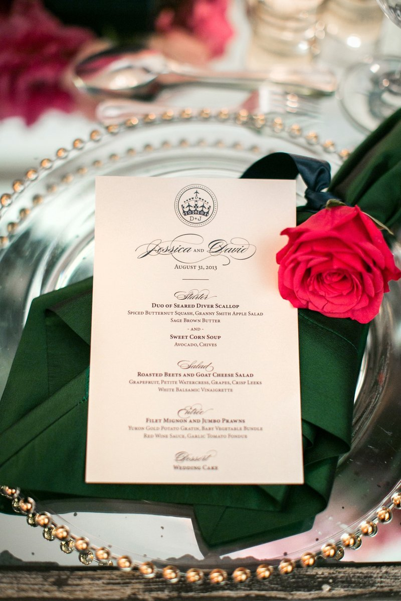 Formal Wedding Menu
