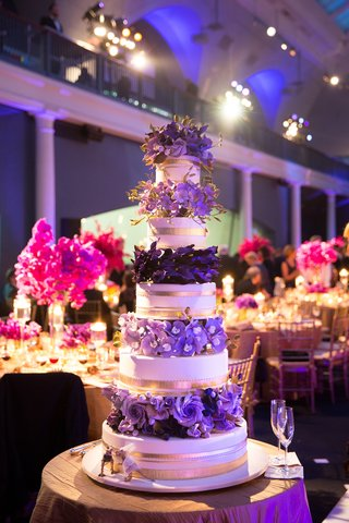 ron-ben-israel-wedding-cake-with-gold-bands-and-purple-surgar-flowers