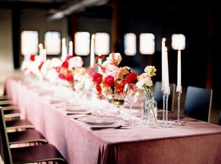 wedding-reception-tablescape-pink-and-red-decor-ideas-pink-velvet-linens-tablecloth-taper-candles