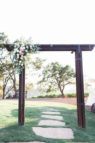 arch-outside-ceremony-floral-decor-white-pink-lawn-winery-rustic-northern-california-wedding
