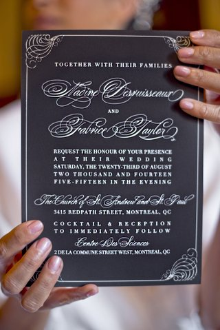 ceci-new-york-invitations-black-paper-white-ink-frilly-cursive-for-names