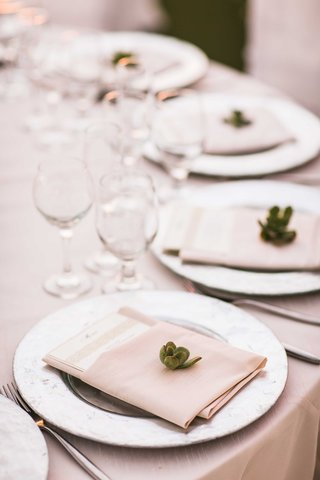 wedding-guest-place-setting-with-silver-charger-plate-tan-napkin-menu-and-green-succulent-detail