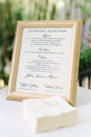 gilt-rimmed-bar-menu-choices-signature-drinks-southern-wedding-south-carolina-classic-beverages-open